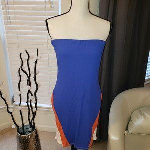 Blue Orange and White Tube Dress